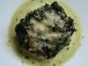 Merluza gratinada con crema de espinacas