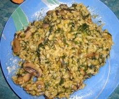 Risotto de espinacas y champiñones (1 ración)