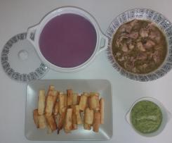 Menú completo: Crema de lombarda, Pollo asado y Yuca frita con Guasacaca