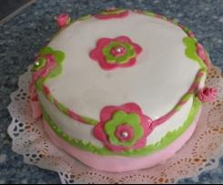 tarta de arcoiris y fondant