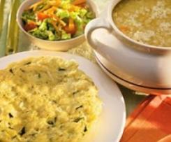 Frittata de verduras al vapor y sopa con cebada