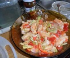 Ensalada de verduras asadas y langostinos