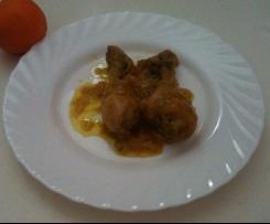 Jamoncitos de pollo con salsa de naranja