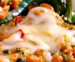 Chile Poblano relleno con camarones y queso