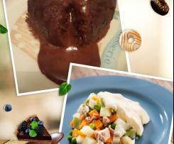 Menú de ensaladilla y volcanes de chocolate al vapor