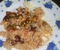 Pimientos rellenos de arroz con bacalao