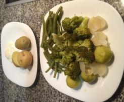 Verduras Hervidas y Huevo al vapor