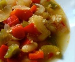Receta vegana / sin gluten: Alubias blancas con quinoa y verduras