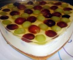 Tarta de queso y chocolate blanco a la gelatina de moscatel