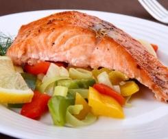 salmon al vapor con verduras