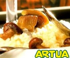 Risotto con trigueros, boletus confitados y crujiente de jamón