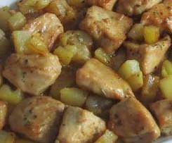 Pollo al ajillo con patatas y longanizas