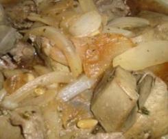higado y asadura con cebolla