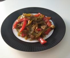 Pimientos cebolla y ajos confitados