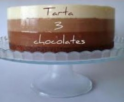 Tarta de tres chocolates
