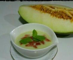 Crema ligera de melón con jamón (sin nata)