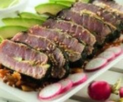 Solomillo de atún marinado en miso