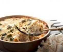 Pastel de brócoli y arroz al queso