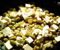 trigo con tofu y habitas
