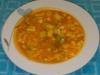 Sopa de calabacino con pollo y conchitas