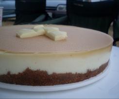 Tarta de chocolate blanco y mascarpone con cobertura de toffe