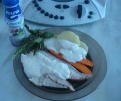 Pargo al vapor con verduras y crema ligera de Brie