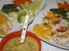 Menú familiar: pareja + bebé. Pechugas rellenas con verduritas y salsa de manzana y papilla de verduras con pollo
