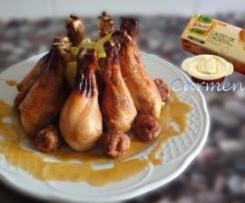 Corona de pollo barbacoa con albondigas al varoma en salsa inesperada