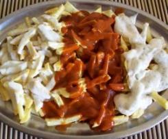 Patatas fritas tres salsas,como en Asturias