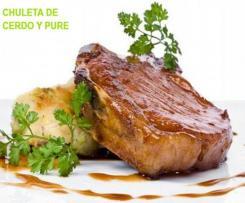 Chuleta de cerdo en salsa de vino y con puré de patatas