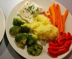 Bacalao con patatas y verduras
