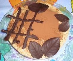 Tarta de chocolate y capuccino con profiteroles.