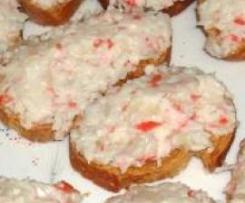 Tostaditas de Pate fresco de surimi y arandanos