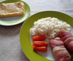 Menú completo: rollito pollo, arroz blanco y flan de huevo