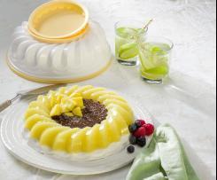 Postre de mango y coco con salsa de chocolate con Tescoma