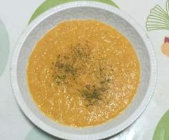 Crema de puerro con salmón