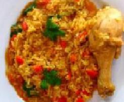 Pollo con verduras y arroz
