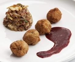 Albóndigas de solomillo de cerdo con salsa de uvas al Oporto y arroz thai con verduritas