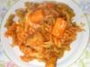 Espirales tricolor con salsa de tomate y mejillones ,bacalao,palitos de mar