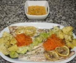 Pure de verduras para el peque y Lubina con guarnicion de verduras y  crema resultona.