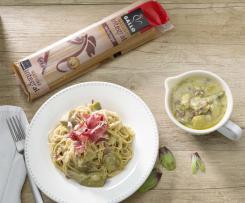 Espaguetis integrales Gallo ® con alcachofas y jamón ibérico
