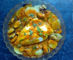 Pescado en salsa y mejillones (para dietas)