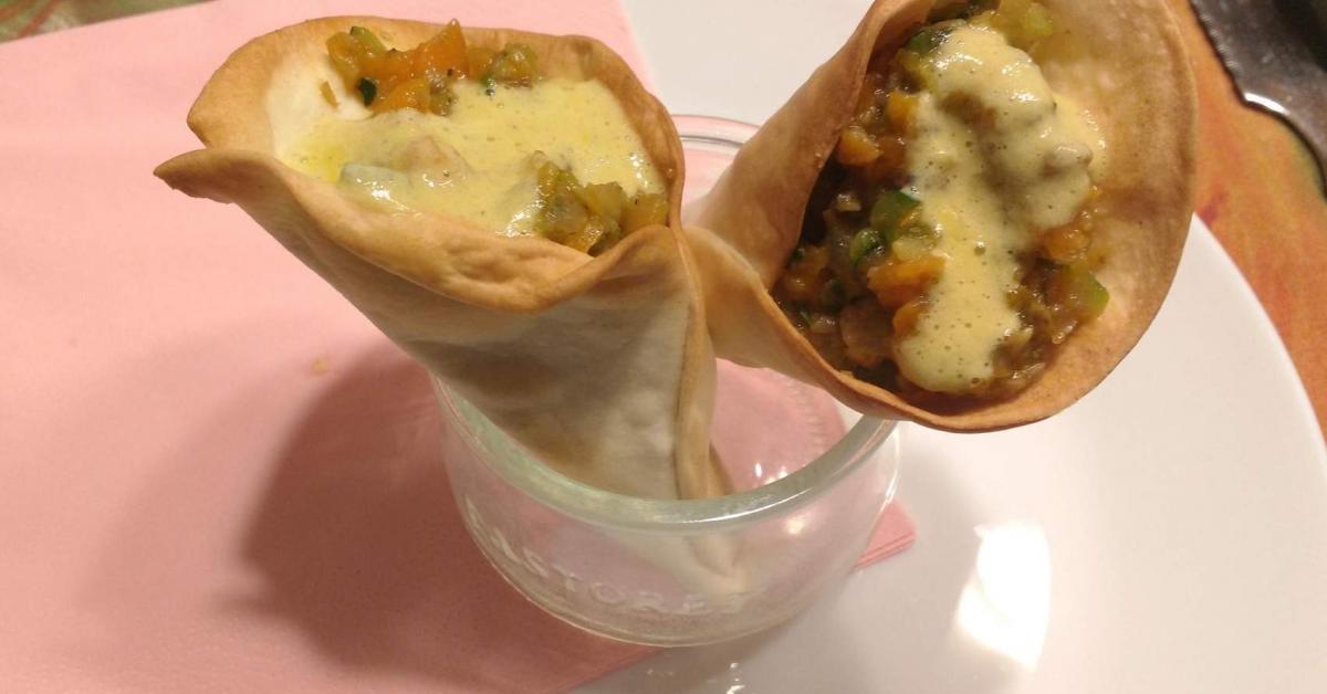 Cono de verduras con salsa de queso de cabra por pereangela la receta de thermomix se - Beneficios queso de cabra ...