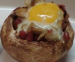 Variación de Champiñones con jamón y huevo de codorniz sin gluten y sin lactosa