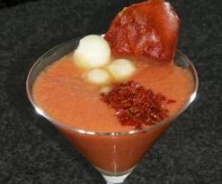 Gazpacho con melón y virutas de jamón