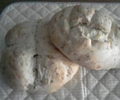 Pan con masa de pizza y sesamo garrapiñado