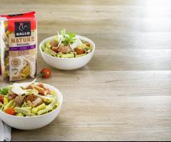 Bowl de pasta multicereales Gallo ® con atún fresco y salsa de aguacate