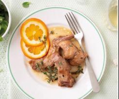 Conejo en salsa de naranja y tomillo
