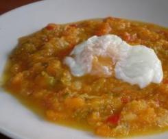 Cazuela de Calabaza y huevos poché