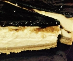 tarta de queso con mermelada de cebolla negra